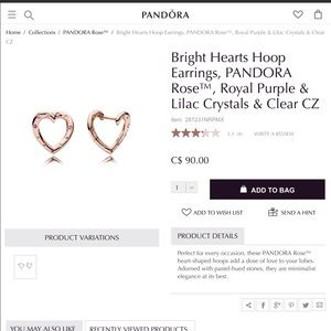 a296269be961a New Pandora Bright Hearts Rose Gold Earrings NWT
